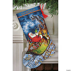 Counted Xstitch Kit-Santa Flight Stock