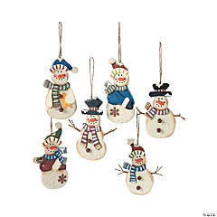 Country Snowman Christmas Tree Ornaments