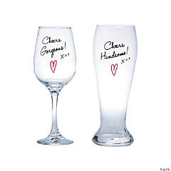 Couple's Wine & Beer Glasses Set