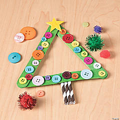 Craft Stick Button Christmas Tree Idea