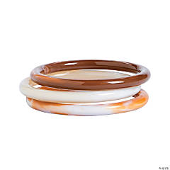 Cream, Tan and Brown Acrylic Bangle Bracelets
