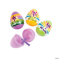 Cross-Filled He Lives Plastic Easter Eggs - 12 Pc.
