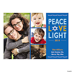 Custom Peace Love Light Hanukkah Cards
