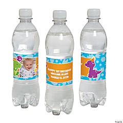 Custom Photo 1st Birthday Dinosaur Water Bottle Labels