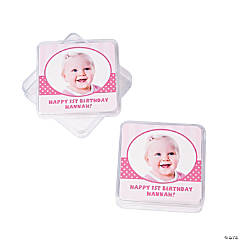 Custom Photo 1st Birthday Pink Square Containers
