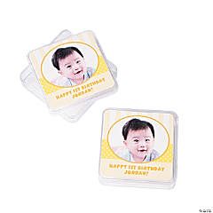Custom Photo 1st Birthday Yellow Square Containers