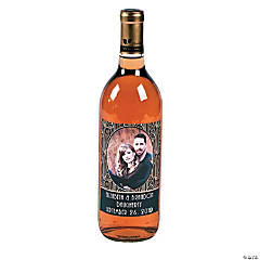 Custom Photo Art Deco Wine Bottle Labels