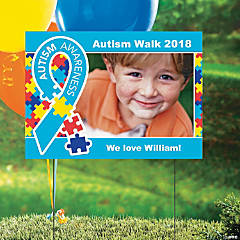 Custom Photo Autism Awareness Ribbon Yard Sign