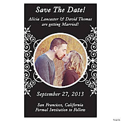 "Custom Photo Black Flourish ""Save the Date"" Magnets"