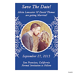 "Custom Photo Blue Flourish ""Save the Date"" Magnets"