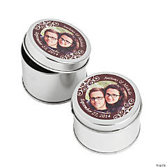 Custom Photo Chocolate Brown Metal Containers
