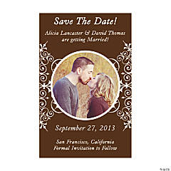 "Custom Photo Chocolate Flourish ""Save the Date"" Magnets"
