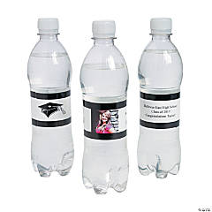 Custom Photo Class Of Water Bottle Labels - Black