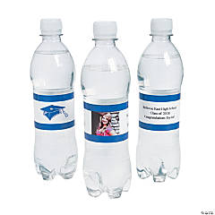 Custom Photo Class Of Water Bottle Labels - Blue
