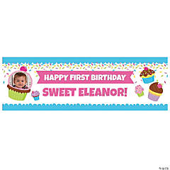 Custom Photo Cupcake Party Vinyl Banner