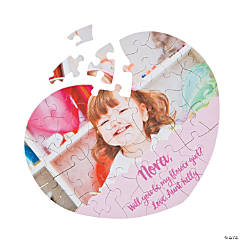 Custom Photo Flower Girl Heart Puzzle