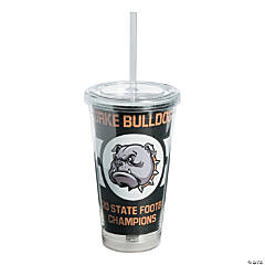 Custom Photo Football Tumbler with Lid & Straw