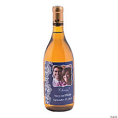 Custom Photo Lace Pattern Wine Bottle Labels