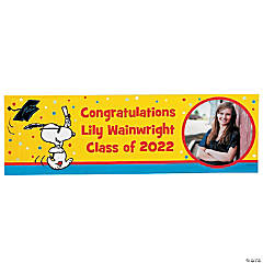 Custom Photo Large Peanuts® Graduation Vinyl Banner