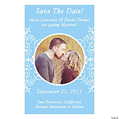 "Custom Photo Light Blue Flourish ""Save the Date"" Magnets"