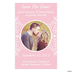 "Custom Photo Light Pink Flourish ""Save the Date"" Magnets"