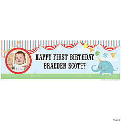 Custom Photo Medium 1st Birthday Circus Vinyl Banner