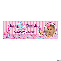 Custom Photo Medium 1st Birthday Cupcake Vinyl Banner