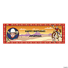 Custom Photo Medium Cowboy Party Vinyl Banner