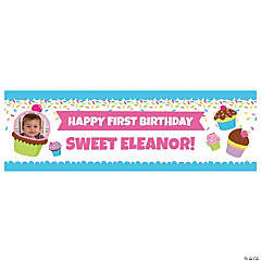 Custom Photo Medium Cupcake Party Vinyl Banner