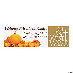 Custom Photo Medium Happy Thanksgiving Vinyl Banner