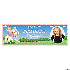 Custom Photo Medium Pink Cowgirl Party Vinyl Banner