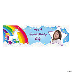 Custom Photo Medium Unicorn Party Vinyl Banner