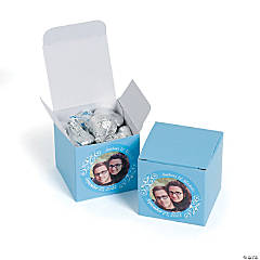 Custom Photo Mini Light Blue Favor Boxes