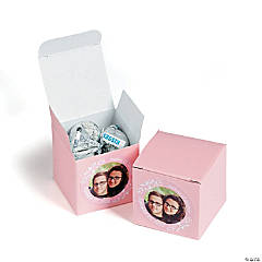 Custom Photo Mini Light Pink Favor Boxes