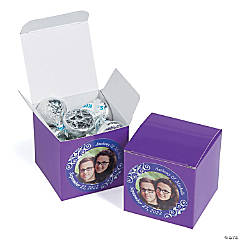 Custom Photo Mini Purple Favor Boxes