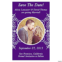 "Custom Photo Purple Flourish ""Save the Date"" Magnets"