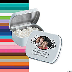 Custom Photo Scrollwork Wedding Mint Tins