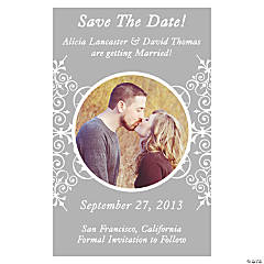 "Custom Photo Silver Flourish ""Save the Date"" Magnets"