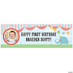 Custom Photo Small 1st Birthday Circus Vinyl Banner