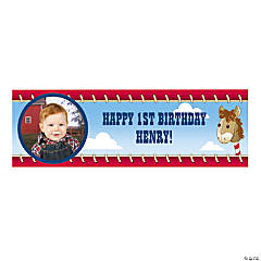 Custom Photo Small 1st Birthday Cowboy Vinyl Banner