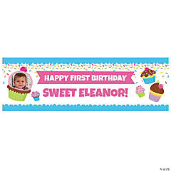 Custom Photo Small Cupcake Party Vinyl Banner