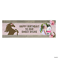Custom Photo Small Horse Party Vinyl Banner
