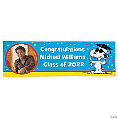 Custom Photo Small Peanuts® Graduation Vinyl Banner