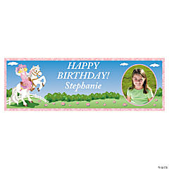 Custom Photo Small Pink Cowgirl Party Vinyl Banner
