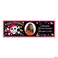 Custom Photo Small Pink Pirate Vinyl Banner