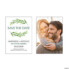 Custom Photo Spring Greenery Save-the-Date Cards
