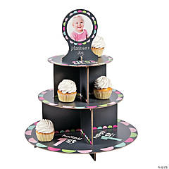 Custom Photo 1st Birthday Girl Chalkboard Cupcake Holder