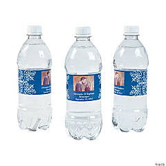 Custom  Photo Wedding Water Bottle Labels - Blue