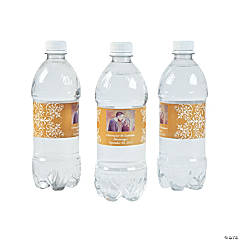 Custom Photo Wedding Water Bottle Labels - Gold
