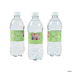 Custom Photo Wedding Water Bottle Labels - Lime Green